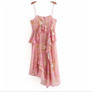 NWT. Zara pink strappy dress. Size S.